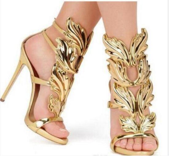 Golden Glitter-Covered Leather Women High Heel Summer Sandals