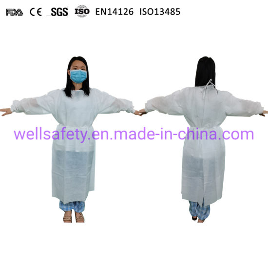 Customized Size AAMI Level 3 ASTM Level 4 Disposable CPE/SMS/PP+PE/SMMS Isolation Gown Impervious Surgeon/Chemo Apron PPE Suit Isolation Nurse Polyester