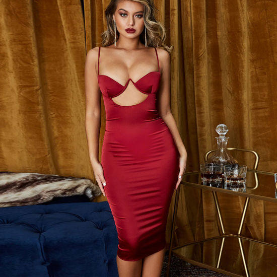 Women's Nightclub Sexy Sling Hollow Hip Evening Prom Party Dress