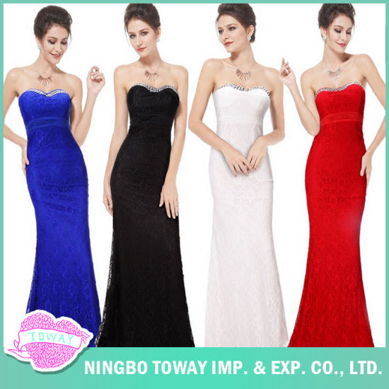 China Strapless Beautiful Simple Prom Womens Evening Dresses For