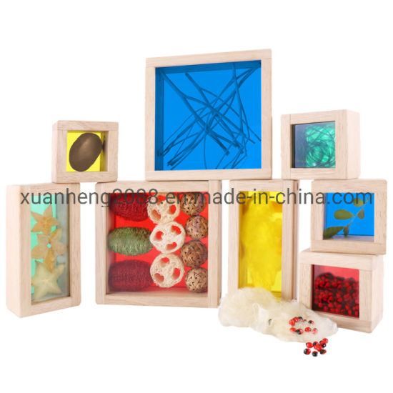 Kids Smart Geometric Toy Wooden Rainbow Educational Crystal Bead Building Blocks Set