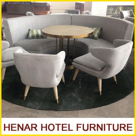 Modern Hotel Lobby Furniture Wood Fabric Half Moon Sectional Sofa