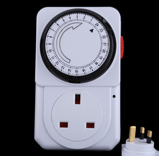 3 x 24 Hour Mains Plug In Timer with LED For Lamps Lights Switch Time Clock UK