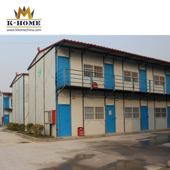 Two Story Flat Roof Prefabricated Building for Labors