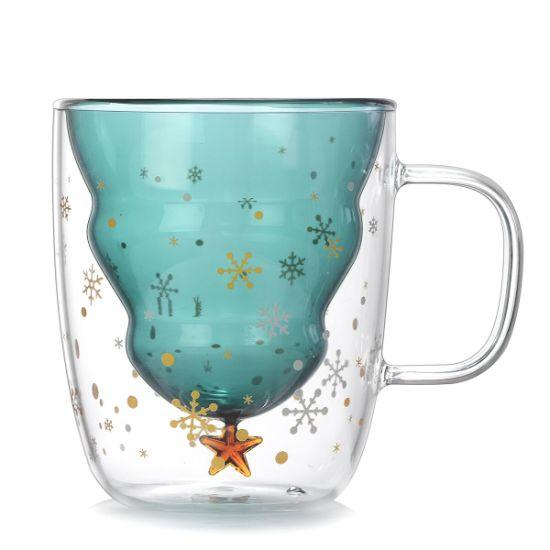 Christmas Gift Mug Double Wall Glass Cup Creative Gift Glass Cup Double Wall Coffee Cup