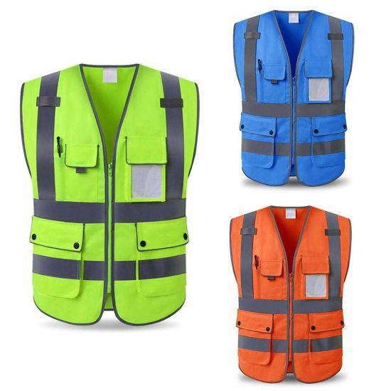 Hi Viz Breathable Polyester Reflective Work Wear Safety Vest for Night Cycling Running