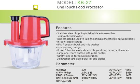 One Touch Food Processor, Household Electric Mixer, Meat Grinder pictures & photos