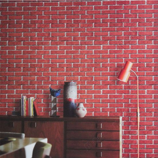 Made In China Cheap Price Home Decor Red 3d Embossed Brick Wallpaper