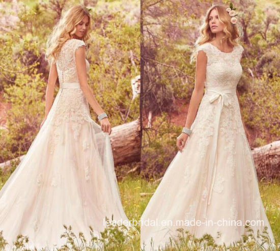 Lace Bridal Ball Gowns Cap Sleeves A-Line Wedding Dress W176285 pictures & photos