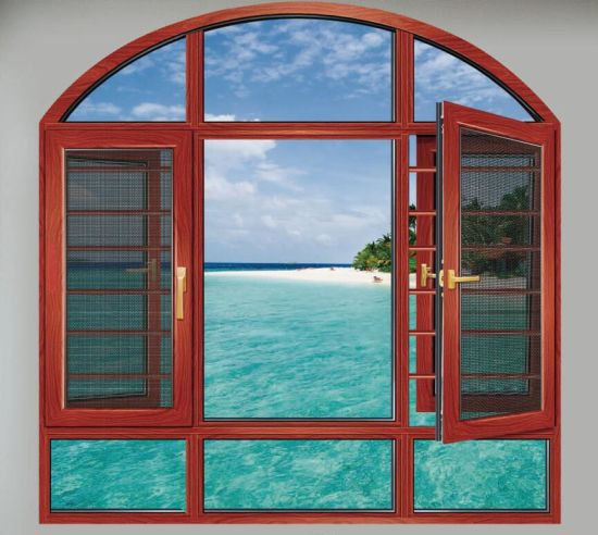 Australia Standard Aluminium Casement Window/108 Series Thermal Break Push out with Mosquito Net Brown Color Clear/Tint Glass/Insulation Glazed/Opening Windows