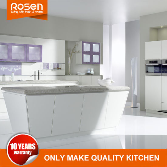High End White Trapezoid Island Design Kitchen Cabinet