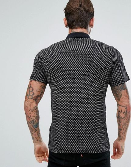Slim Fit Paisley Polo Shirt in Black pictures & photos