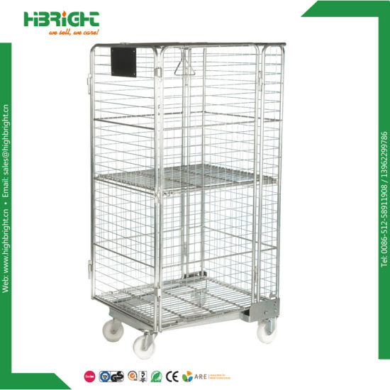 China Metal Logistic Wire Mesh Warehouse Roll Cage Trolley