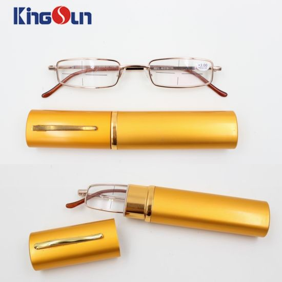 High Quality Metal Reading Glasses with Aluminum Case