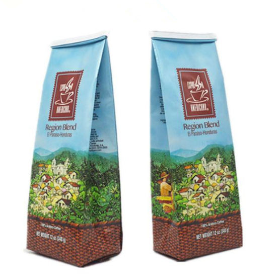 Custom Printed Flat Bottom Resealable Ziplock Top Coffee Bags With Valve Whole Packaging Bag