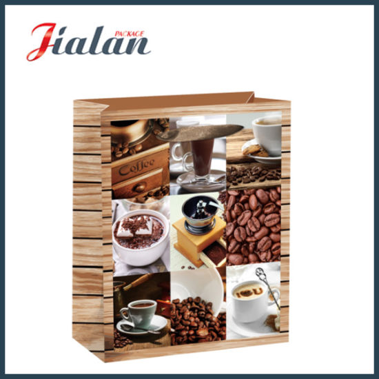 Glossy Laminated Art Paper Coffee Bean Shopping Gift Paper Bag pictures & photos