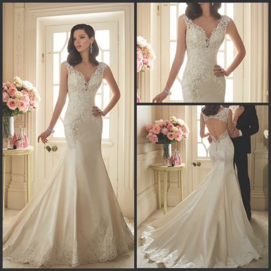 China Embroidery Wedding Gown Trumpet V Neck Bridal Lace Wedding