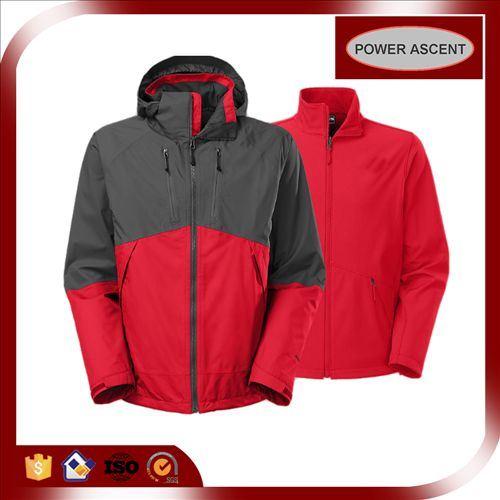 OEM 3-in-1 Wind-Proof Softshell Functional Jacket for Men