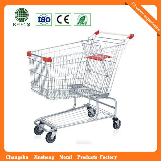 Customized Metal Super Cart Hypermarket Shopping Trolley (JS-TAM06)