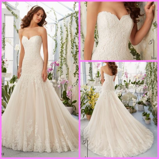 2ce2cfaa42835 2016 Lace Bridal Ball Gown Tulle Trumpet Sweetheart Wedding Dress Mr5402  pictures & photos