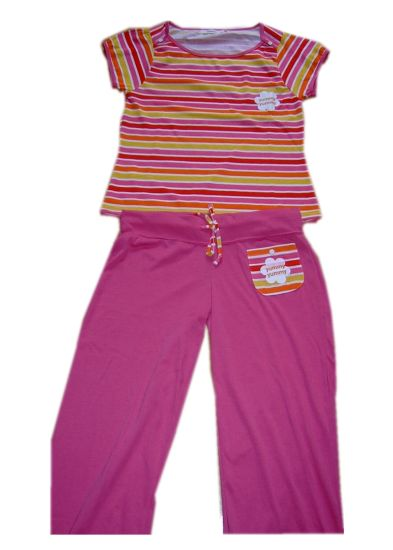 100% Cotton Girls Pajamas S/S Top Pink Pants Children Wears Baby Wears Sleep Wears pictures & photos