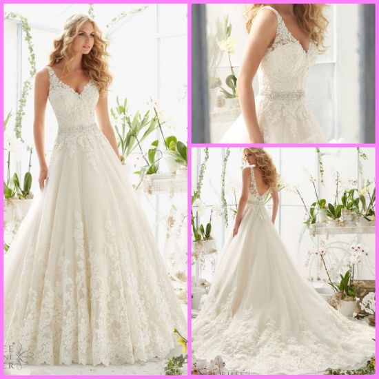 China A-Line Lace Bridal Gown V-Neck Tulle Crystal Sash Wedding ...