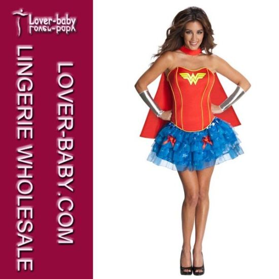 Super Hero Adult Womens Halloween Party Fancy Dress Wonder Supergirl Outfit