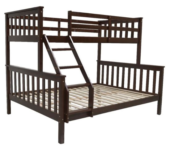 China 3 Sleeper White Pine Wood Triple Bunk Bed Double Single Size Upper And Lower Bed China Triple Bunk Bed Wooden Double Bunk Bed