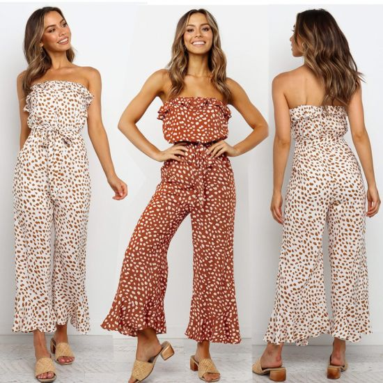 Women's Sweet Clothing Print Lace-up Strapless Jumpsuit Fashion Clothes