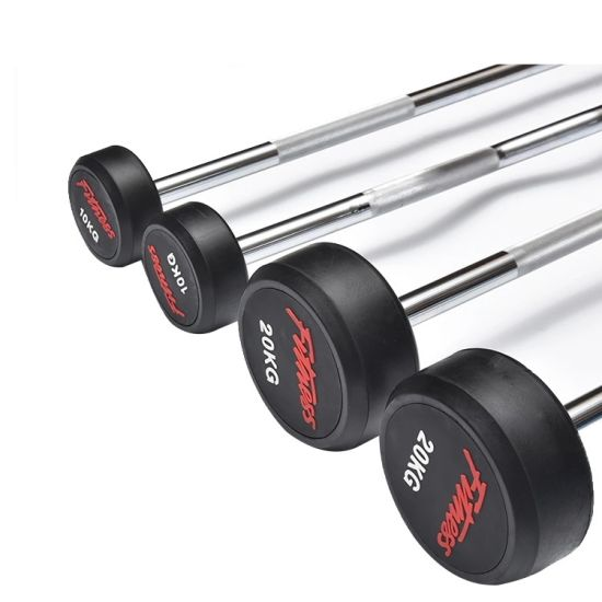 Fixed rubber Straight Barbells Fitness