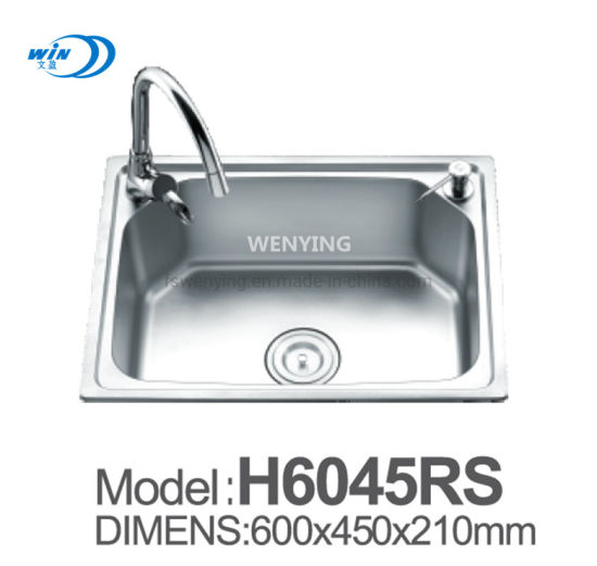 China 600 450 Mm Single Bowl Deep Bowl Stainless Steel Kitchen Sink For India Wy6045 China Kitchen Basin Water Tank
