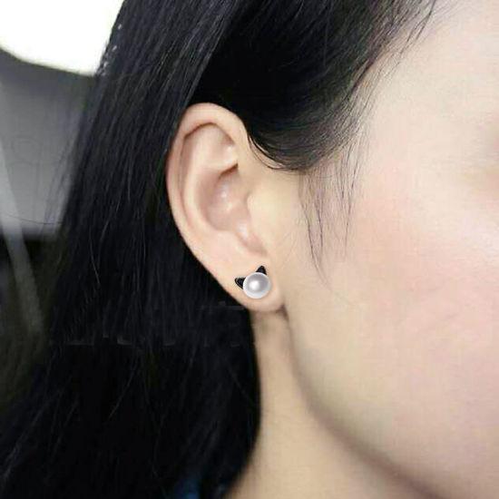 Girls Cat delicate Ear Studs 925 Sterling Silver