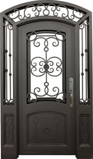 Customs High Quality America Standard Iron Grill Entry Door with Glass Window Designs