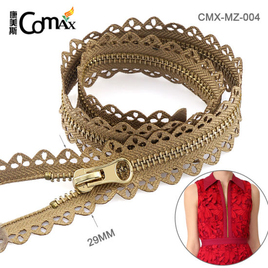 Wholesale Hot Sale Fashion Custom Metal Gold Zipper, Design 29mm Metal Zippers Gold Teeth for Clothing pictures & photos