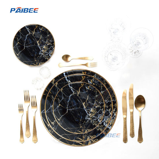 Kitchen Accessories Tableware Ceramic Type Bone China Dinner Plates Black  Marble Design Dishes