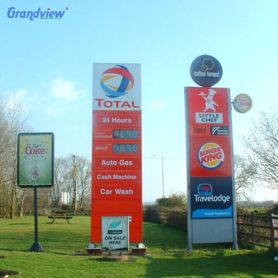 Outdoor Aluminium Illuminated LED Pylon Sign Advertising Illuminate Pylon Sign