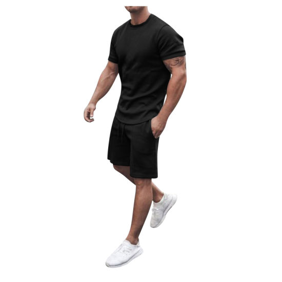 New Look Custom Wholesale Men Two Pieces Short Sleeves Dropped Shoulders Summer Short Tracksuit Set