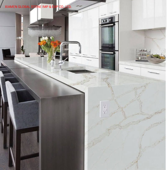 China Hot Sales Ftgs1a Calacatta White Quartz Slabs For Kitchen Countertop And Vanity Top China Calacatta White White Quartz