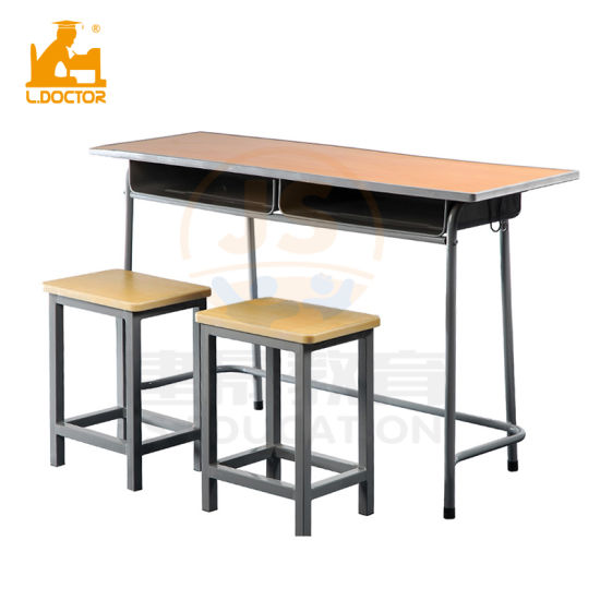 Double Old School Desk And Chair With Mdf Top China School