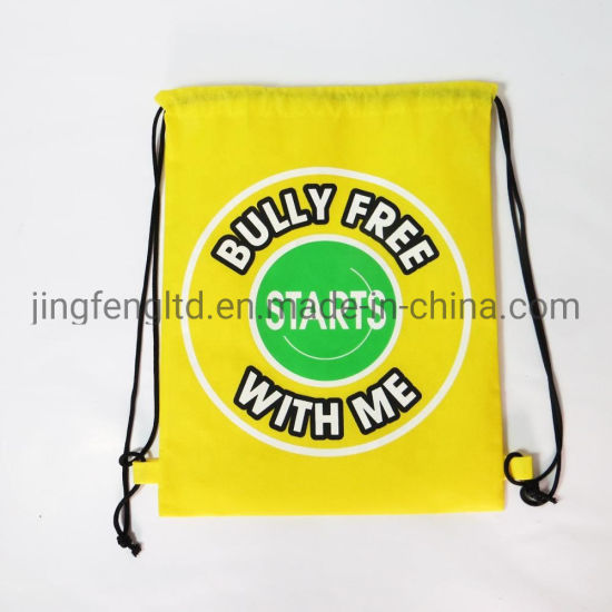 Newly Promotional Non-Woven Fabric Silk Screen Printing Drawstring Bag Backpack pictures & photos