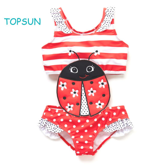 Baby Girl Swimwear Red DOT Top and Bikini Skirt with 2 Pieces Swimwear Insect Embroidery Patches