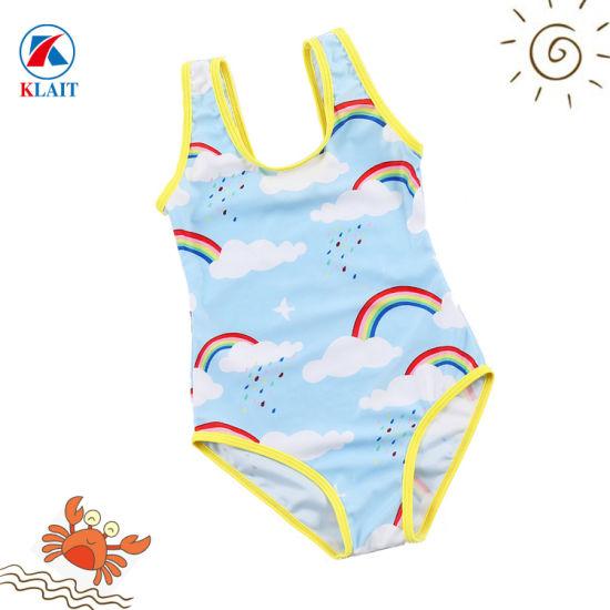 52859e0480 Custom Rainbow Print 2-8 Years Baby Girls Nylon One Piece Swimsuits. Get  Latest Price