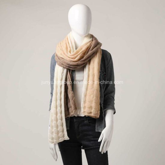 Supplier Super Soft Hand-Feel Knitted Three-Tone Joint Cashmere Scarf