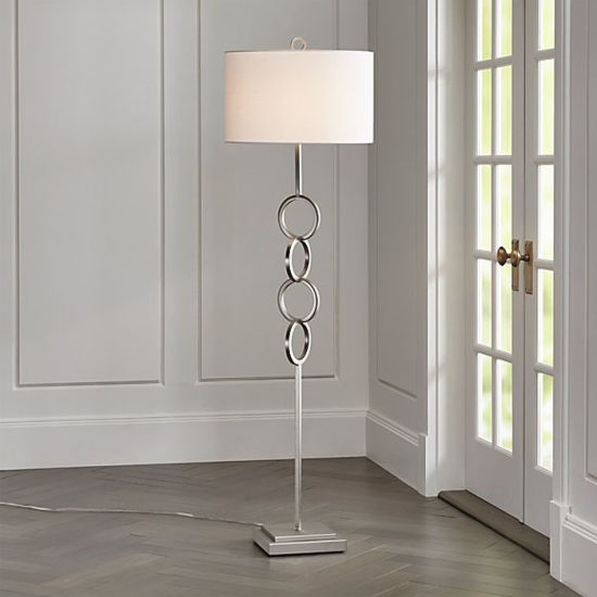 Modern Nickel Floor Lamp for Hotel, Home Bedside with off- White Fabric Shade