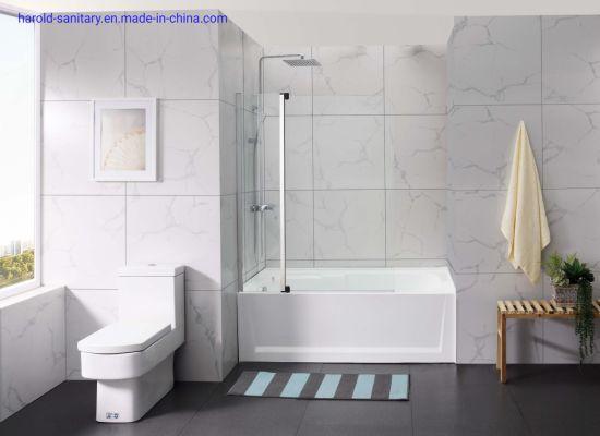 Glass-to-Glass Nylon Pivot Bathtub Screen Shower Enclosure