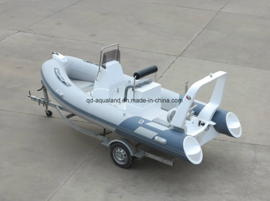 Aqualand 16feet 4.7m Fiberglass Rigid Hull Inflatable Fishing T/Rib Rescue Patrol Motor Boat (RIB470B) pictures & photos
