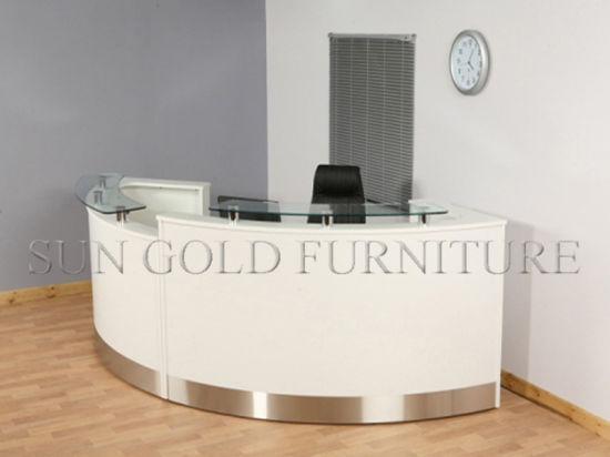 OEM Factory Customize White Round Shape Modern Office Reception Desk  (SZ QT005)