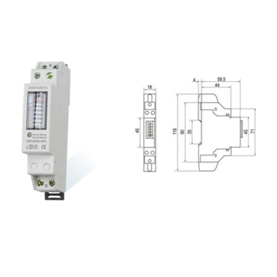 China Single Phase Two Wire DIN Rail Energy Kwh Meter For