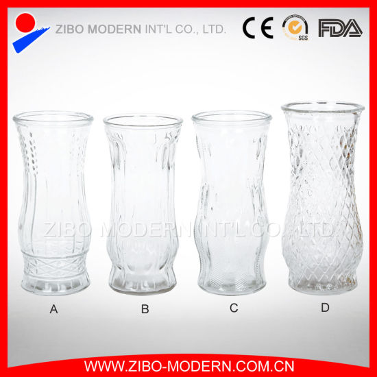 China Different Types Glass Vase Cheap Embossed Pattern Clear Glass