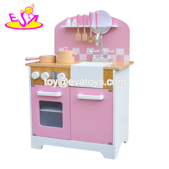 China 2018 New Arrival Elegant Pink Wooden Girls Kitchen Set For